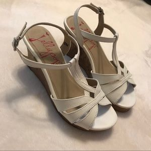 Jellypop White Strappy Wedges. Size 8.